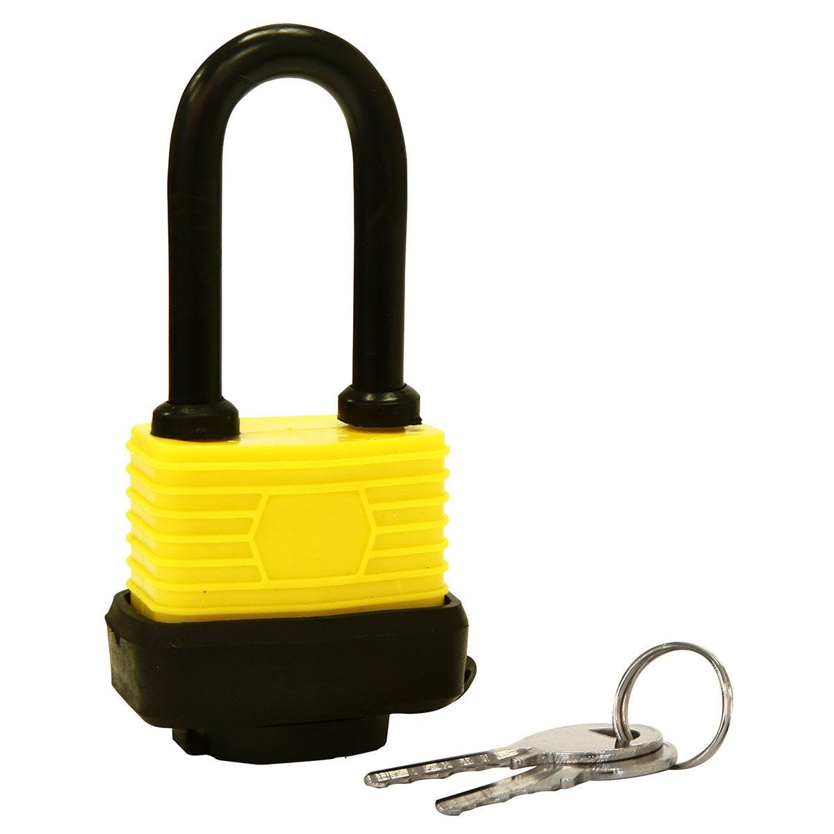 Rolson 40mm Long Shackle Laminated Steel Padlock with 2 Keys - Black & Yellow