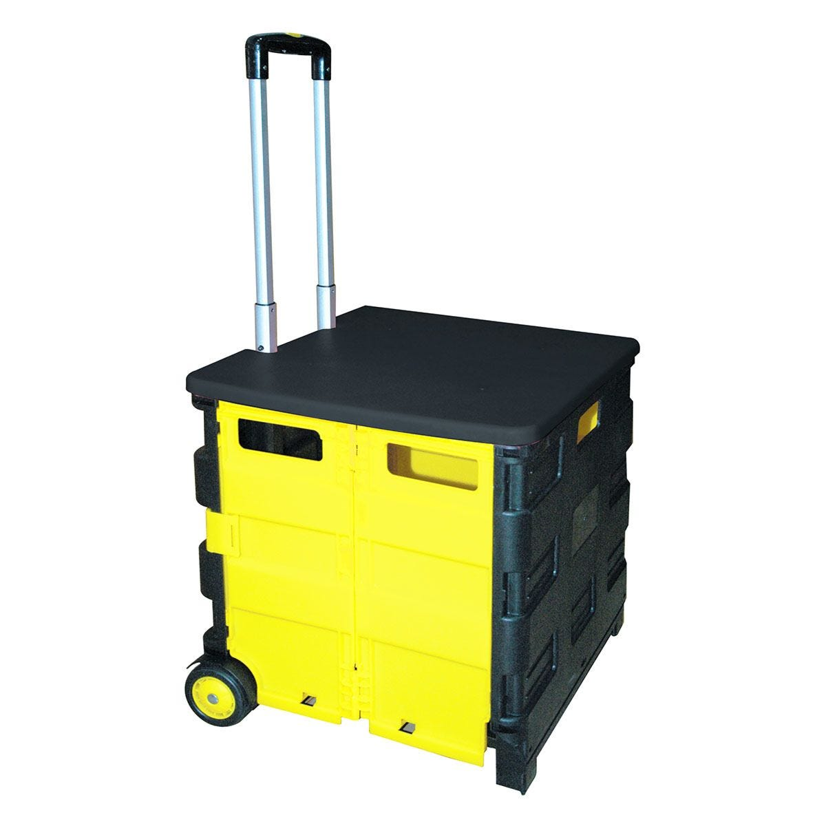Rolson Folding Cart with Lid and Bag - Black & Yellow