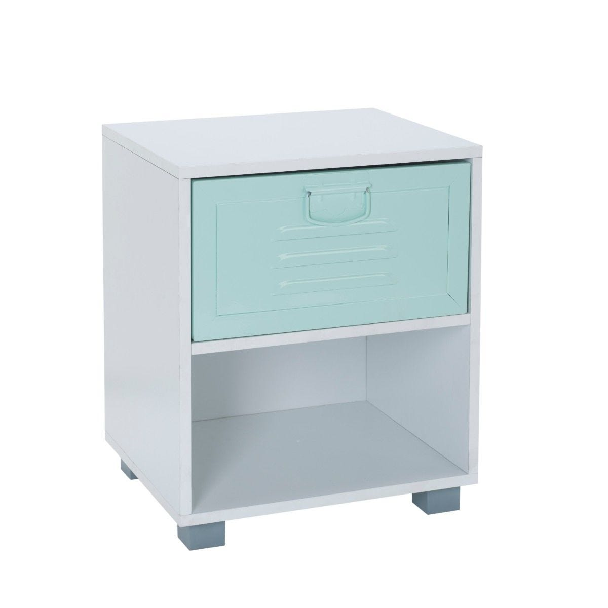 White 1 Draw Bedside Cabinet With Green Metal Drawer