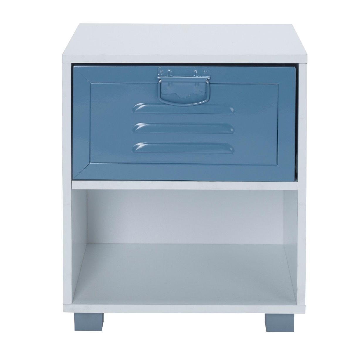 White 1 Draw Bedside Cabinet With Blue Metal Drawer
