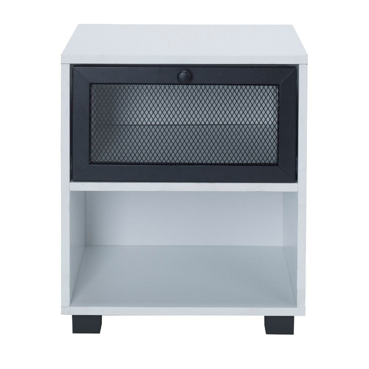 White 1 Draw Bedside Cabinet With Black Mesh Metal Drawers