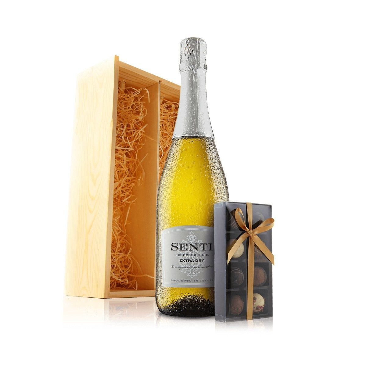 Virgin Wines Prosecco and Chocolates in Wooden Gift Box