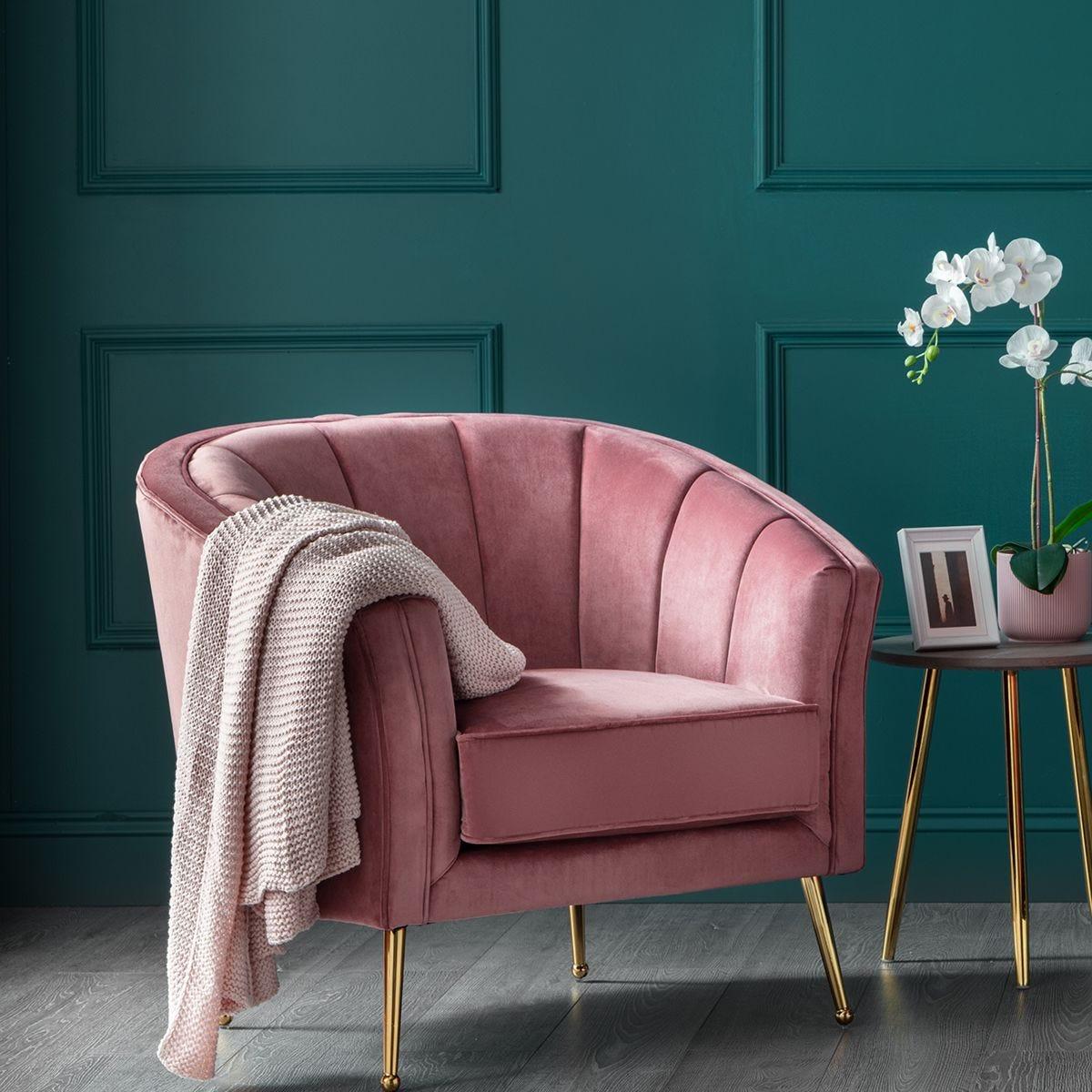 Como Accent Chair Rose Velvet Gold Legs