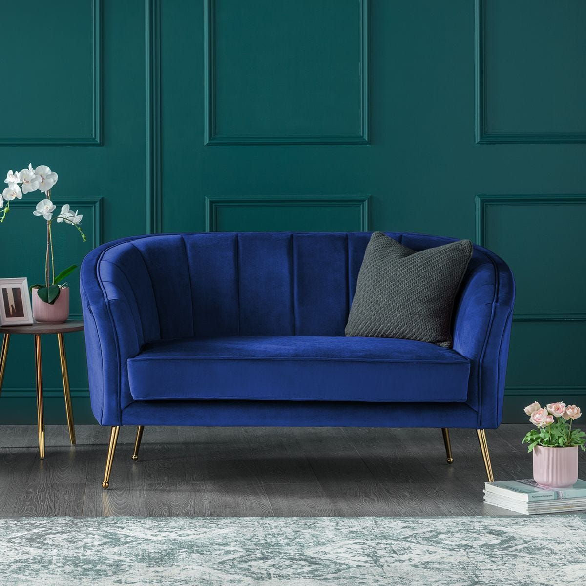 Picture of: Como Two Seater Accent Chair Royal Blue Velvet Gold Legs Robert Dyas
