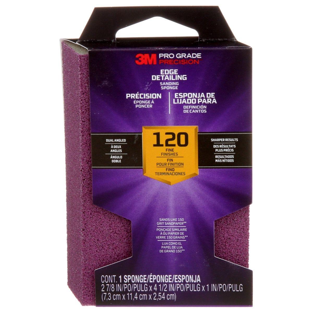 3M(TM) Pro Grade Precision(TM) Edge Detailing Dual Angle Sanding Sponge 120 Grit - Purple