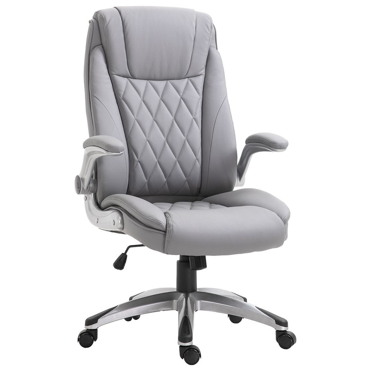 Solstice Galilei Executive Ergonomic PU Leather Office Chair with Headrest & Adjustable Height - Grey