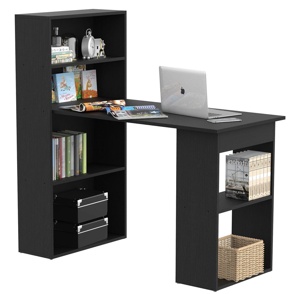 Zennor 120cm Modern Computer Desk With Bookshelf Shelves Black Robert Dyas