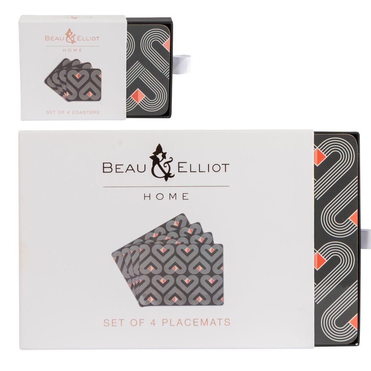 Beau & Elliot Vibe 4 Placemats and 4 Coasters - Slate
