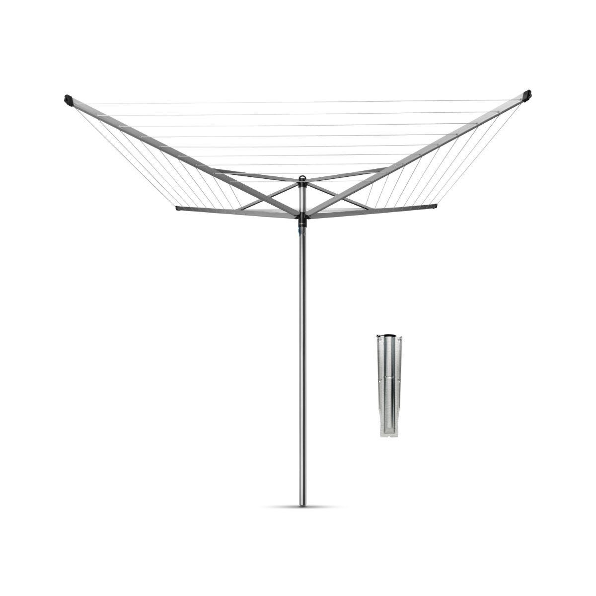 Brabantia Rotary Dryer Topspinner 60m With Ground Spike - Metallic Grey