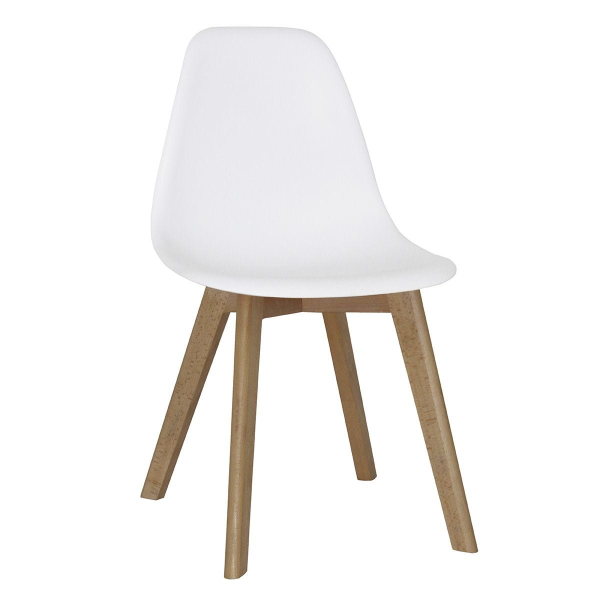 Set Of 4 Belgium Plastic Chairs with Solid Beech Legs White