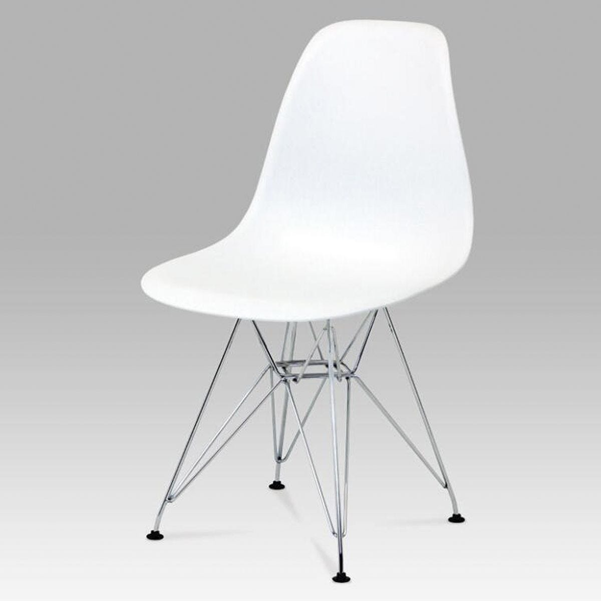 Set Of 4 Bianca Plastic Chairs with Steel Chrome Legs - White