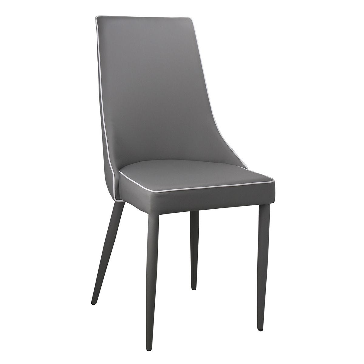 Set Of 4 Daisy Faux Leather Chairs Metal Legs - Grey