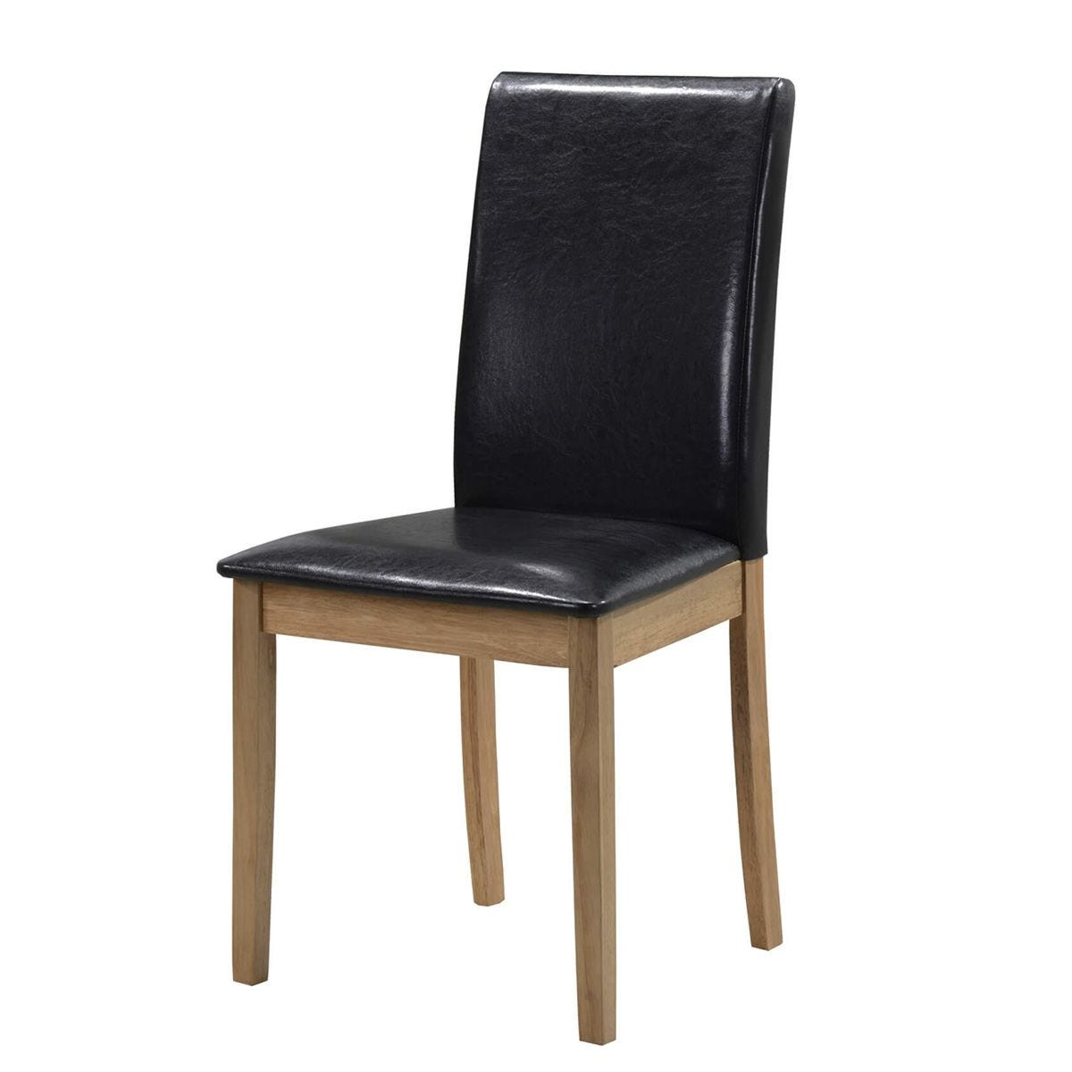Set Of 2 Healey Solid Rubberwood Chairs With Faux Leather Seats - Black