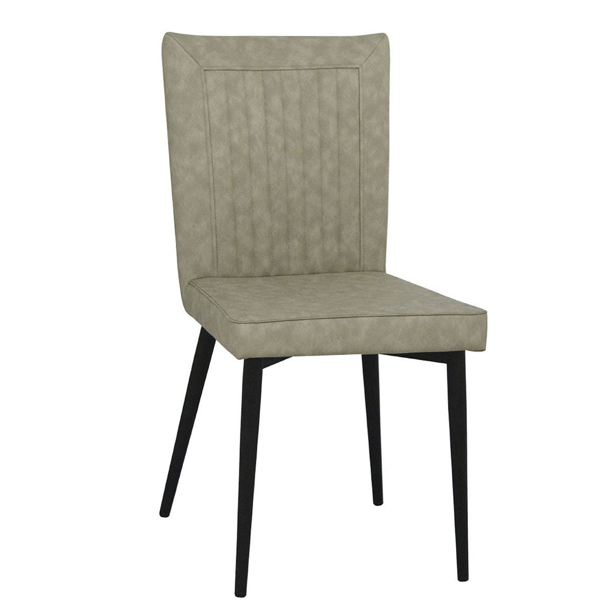 Set Of 4 Hoskin Faux Leather Chairs - Taupe/Black