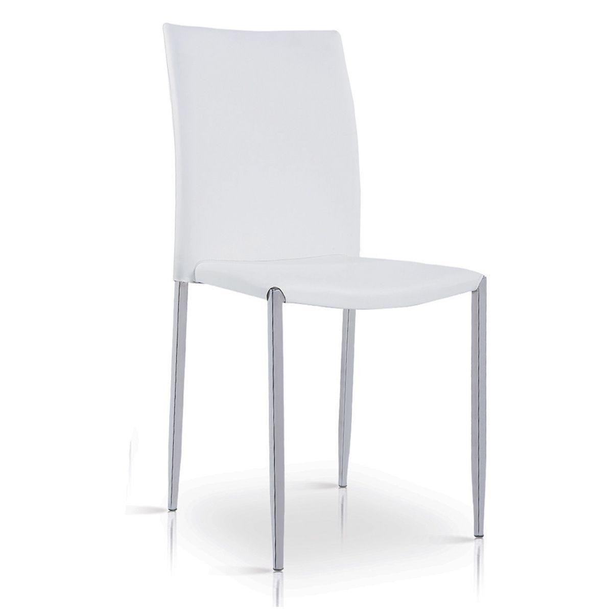 Set Of 4 Iris Faux Leather Chairs - White/Chrome