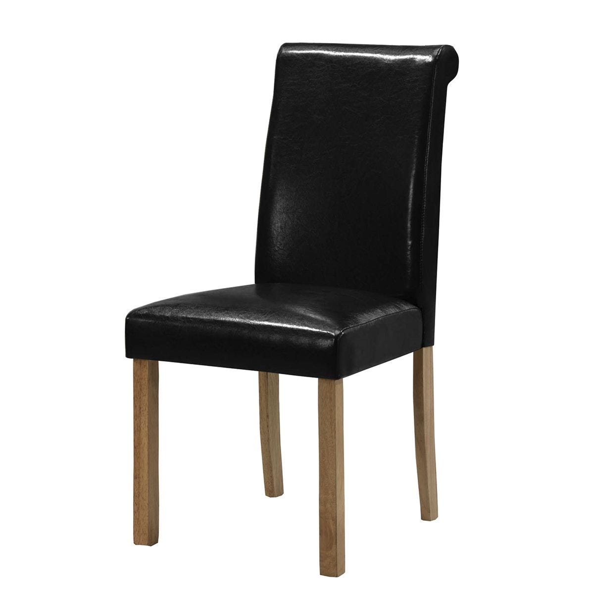 Set Of 2 Jasper Solid Rubberwood Chairs With Faux Leather Seats - Black