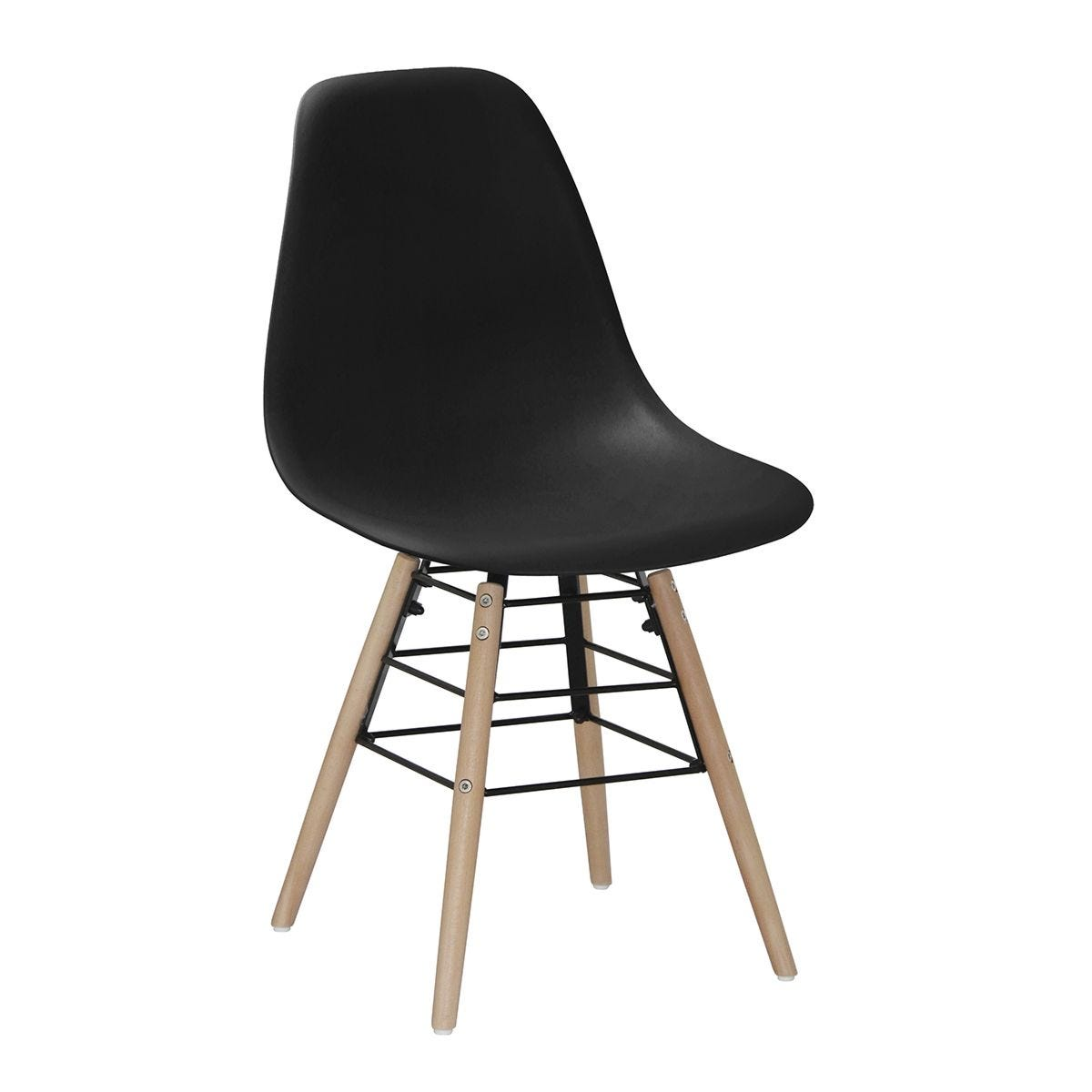 Set Of 4 Lilly Plastic Chairs with Solid Beech Legs - Black