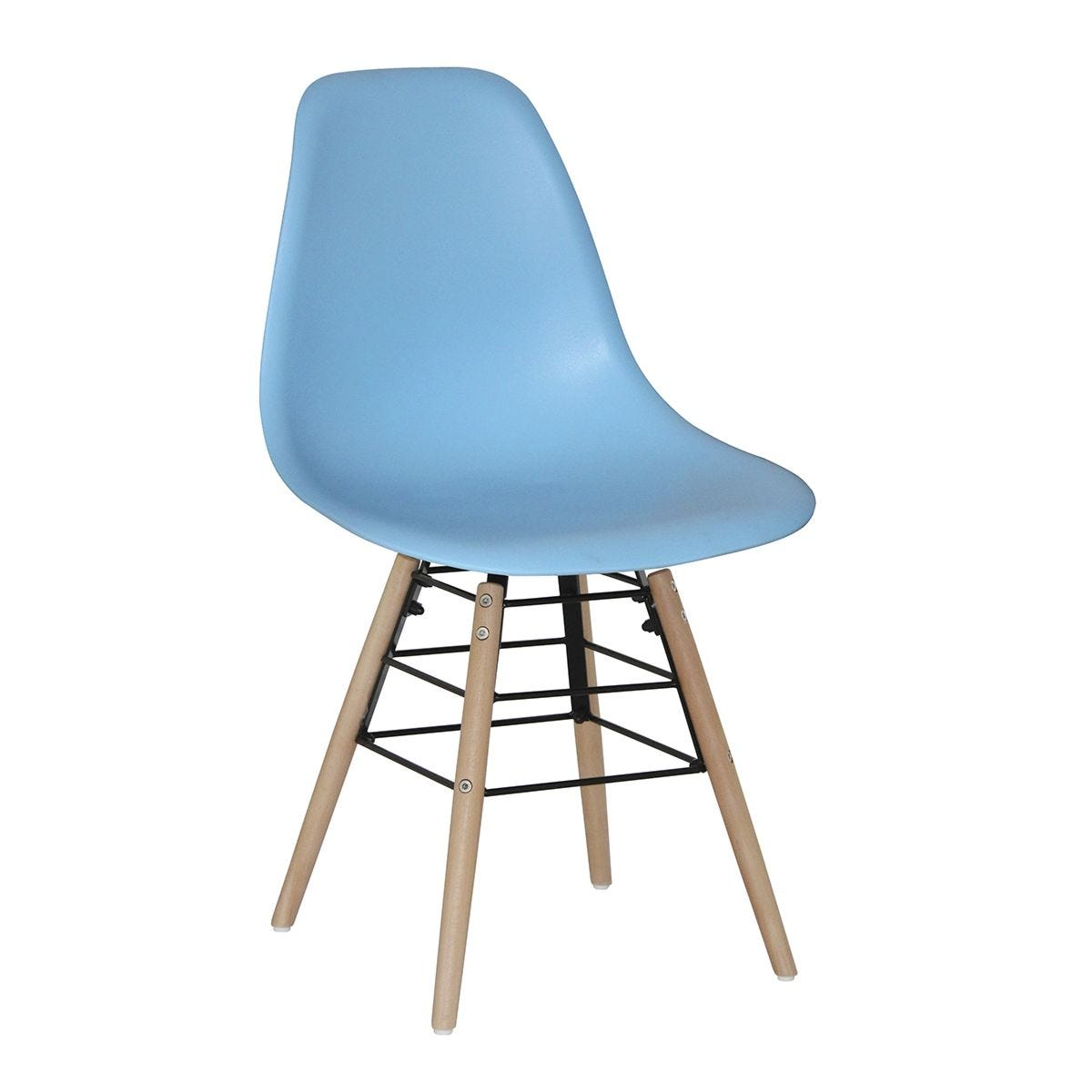 Set Of 4 Lilly Plastic Chairs with Solid Beech Legs - Light Blue