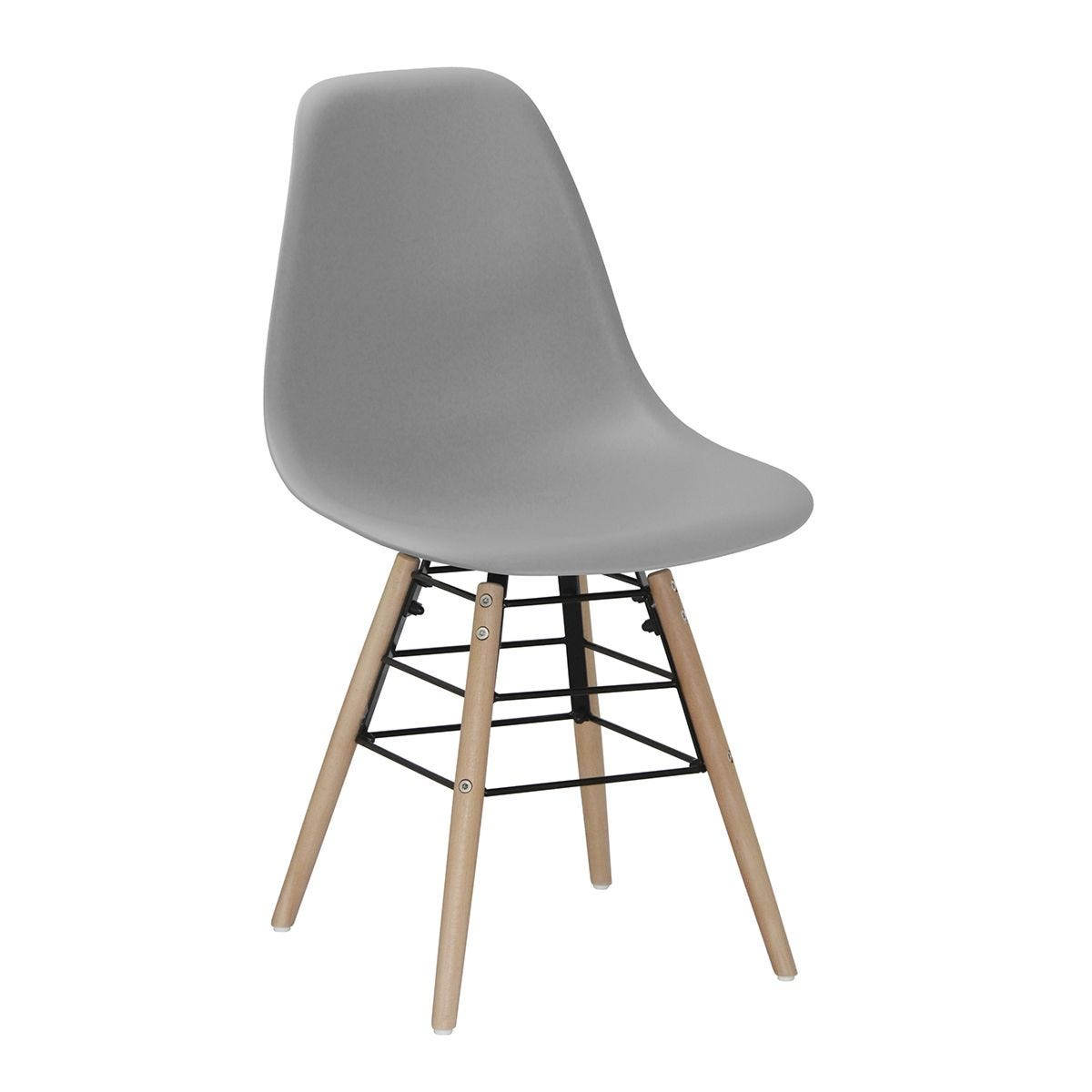 Set Of 4 Lilly Plastic Chairs with Solid Beech Legs - Light Grey