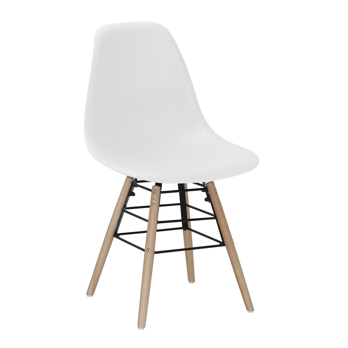 Set Of 4 Lilly Plastic Chairs with Solid Beech Legs - White