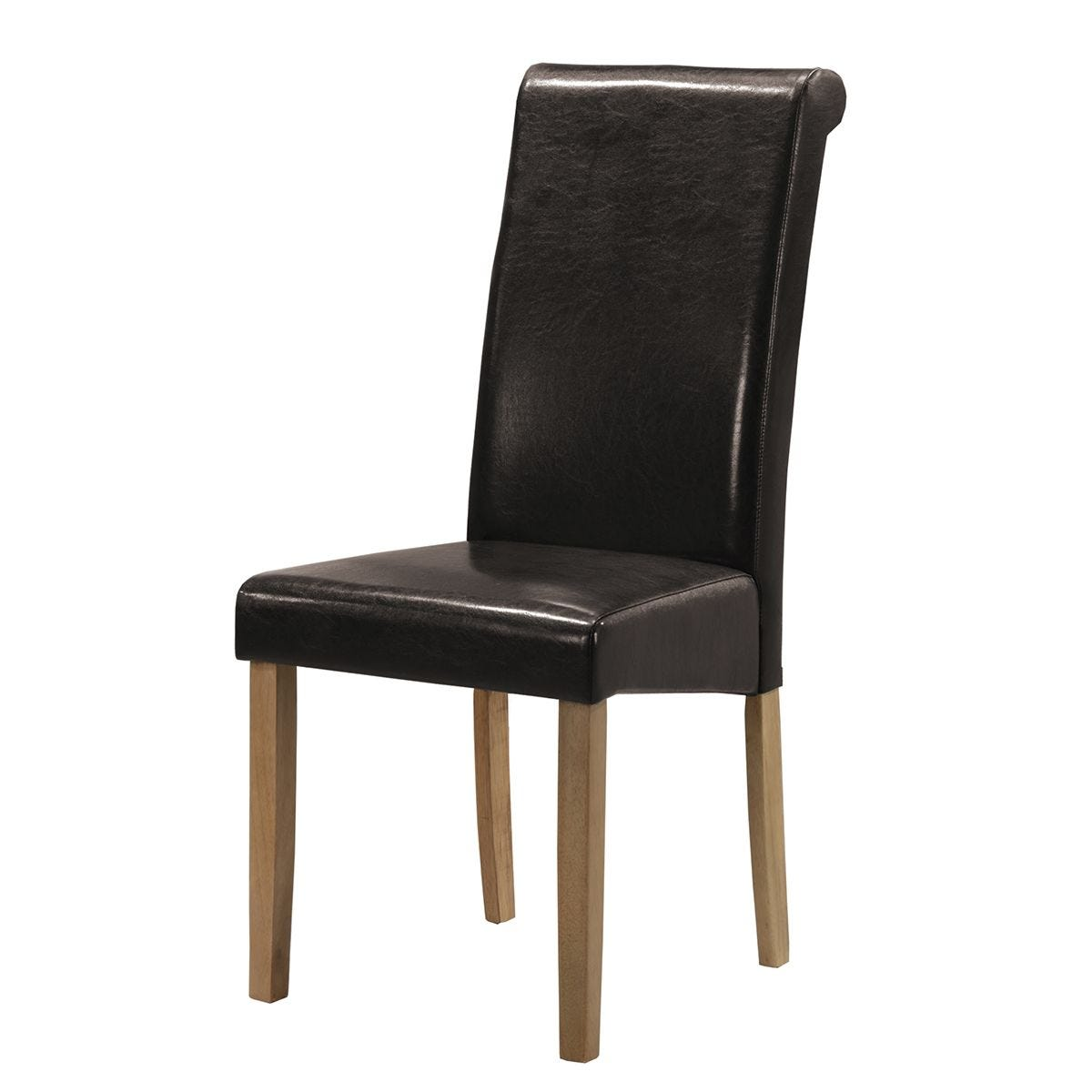 Set Of 2 Marley Solid Rubberwood Chairs With Faux Leather Seats - Brown