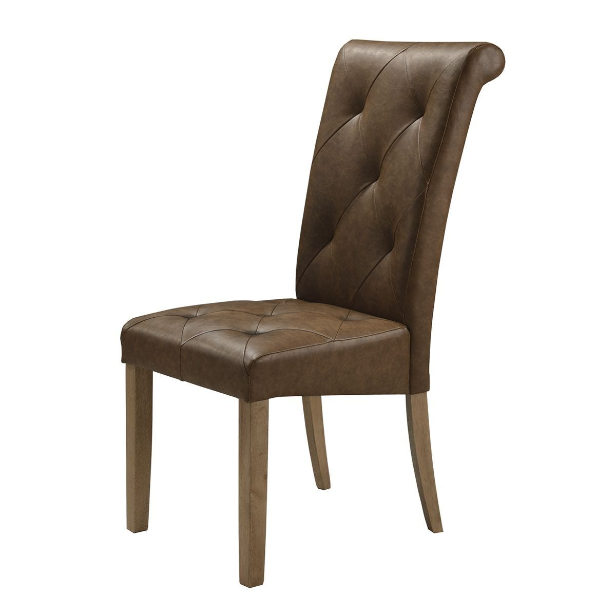 Set Of 2 Nicole Solid Rubberwood Chairs With Faux Leather Seats- Brown