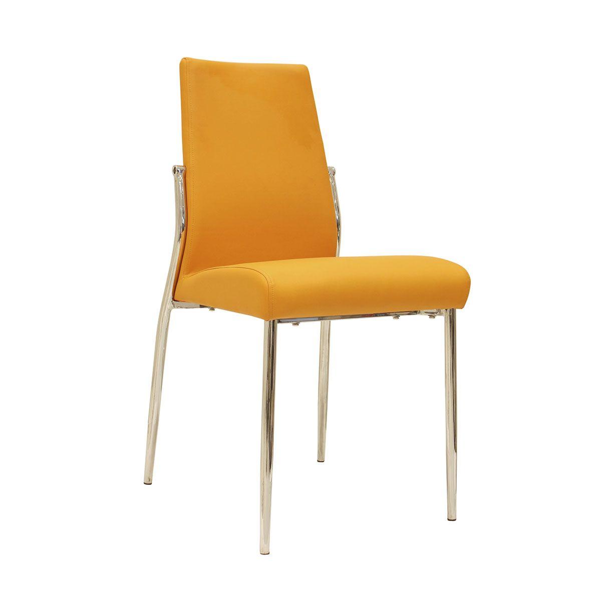 Set Of 4 Renzo Faux Leather Chairs - Chrome/Orange