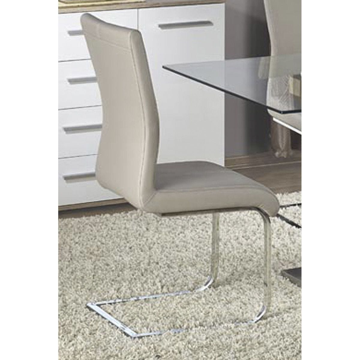 Set Of 2 Simone Faux Leather Chairs - Chrome/Grey