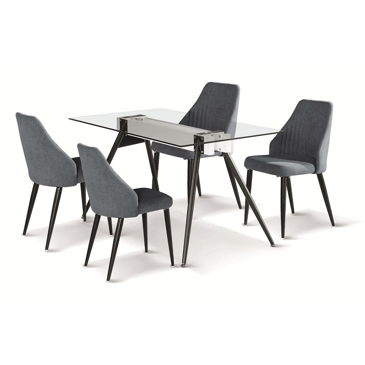 Set Of 4 Tessa Fabric Chairs with Black Metal Legs - Grey