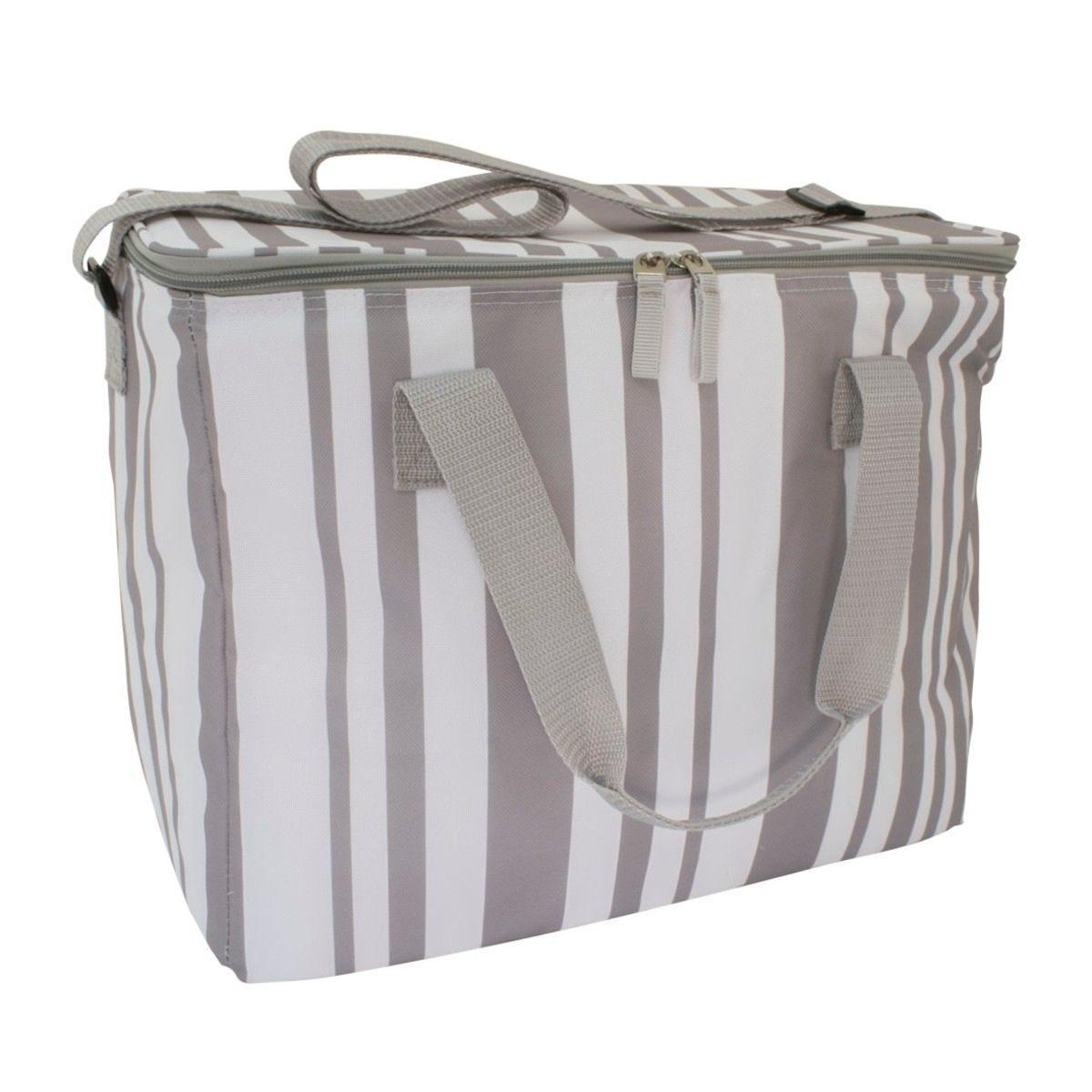 Grey Striped Family Cool Bag - 20L