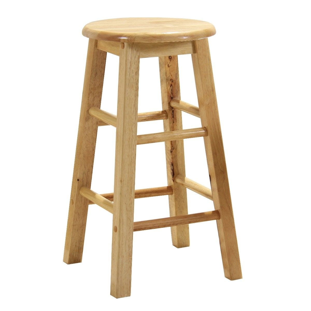 61cm Natural Wood Bar Stool Pair With Swivel Seats