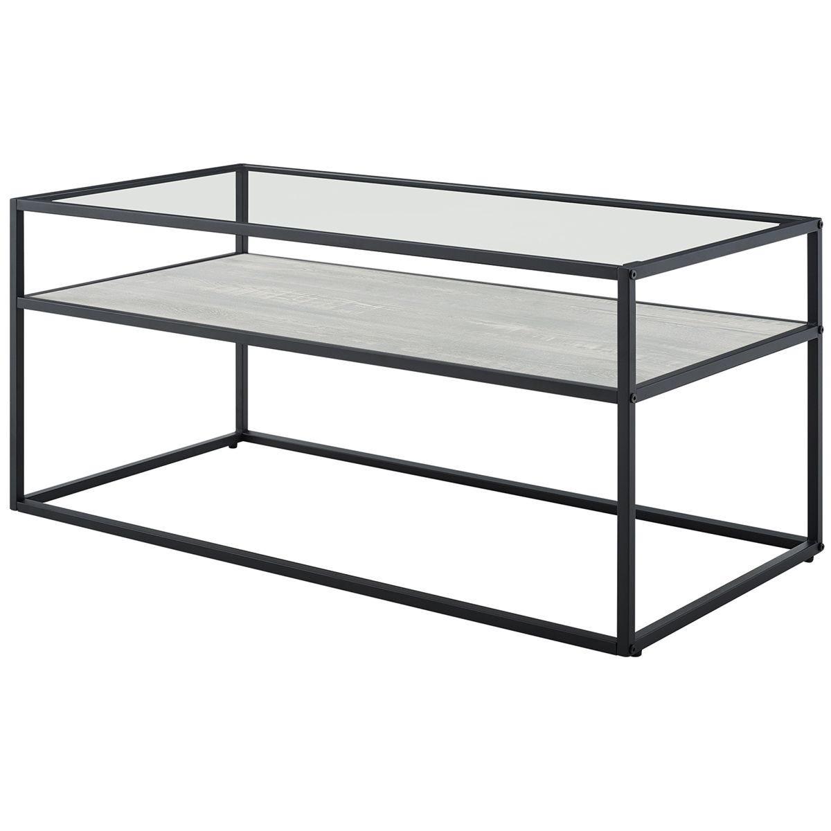 Modern Reversible Shelf Coffee Table - Rustic Oak/Stone Grey