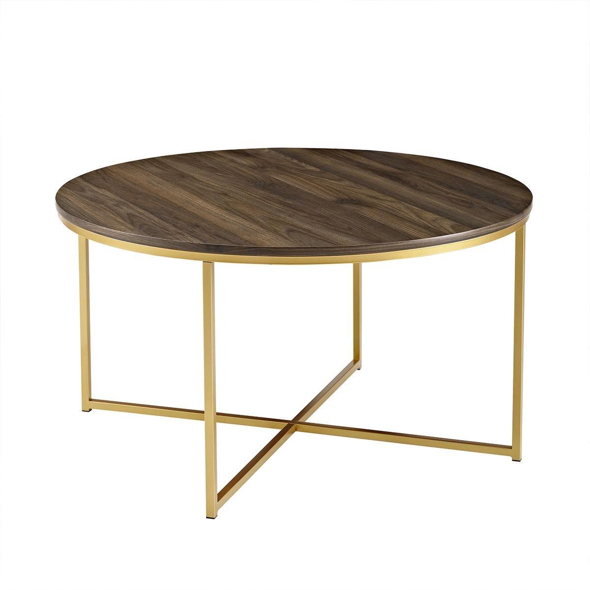 Mid Century Modern Coffee Table - Dark Walnut/Gold