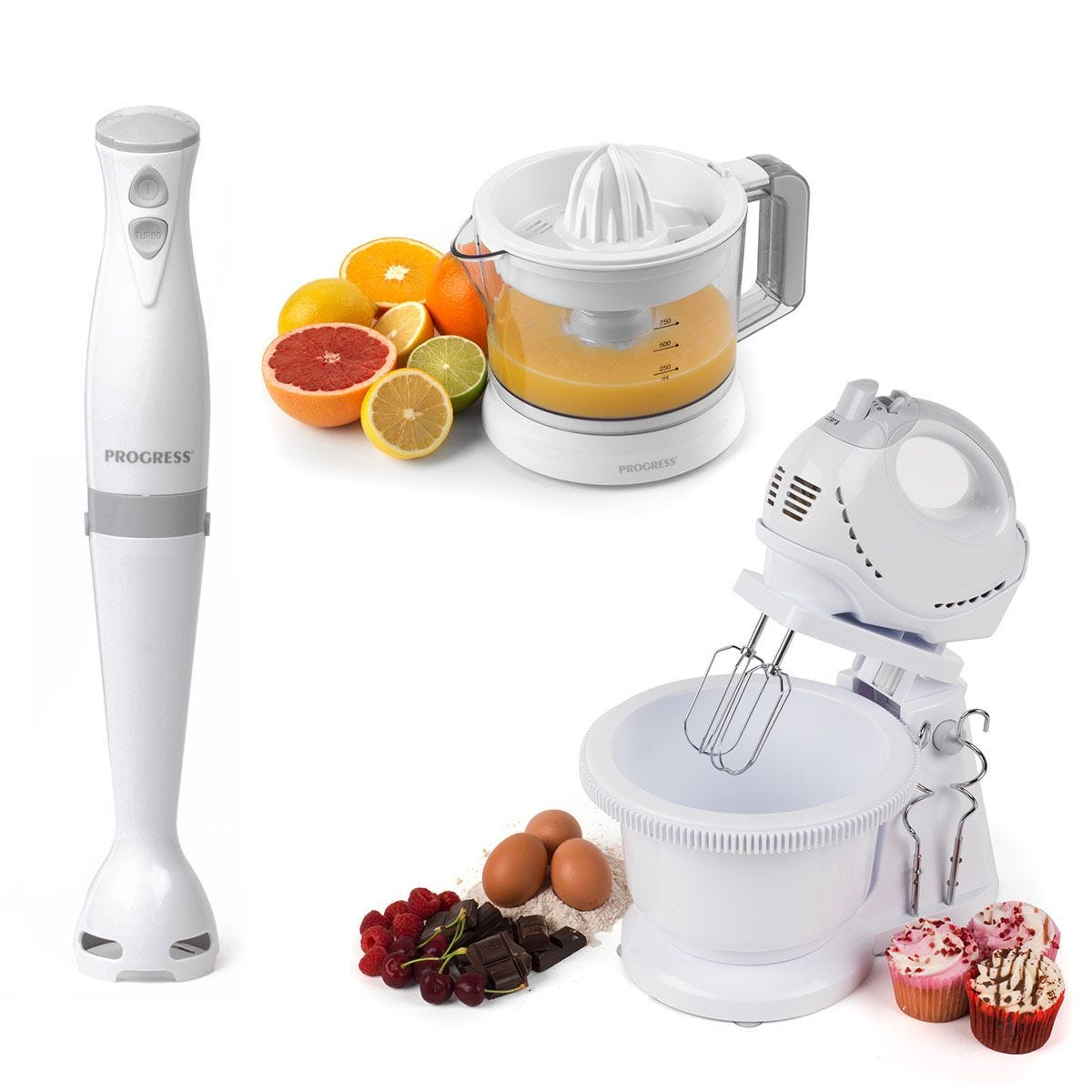 Progress® COMBO–70778 250W Twin Hand/Stand Mixer, 350W Stick Blender, and Electric Citrus Juicer – White