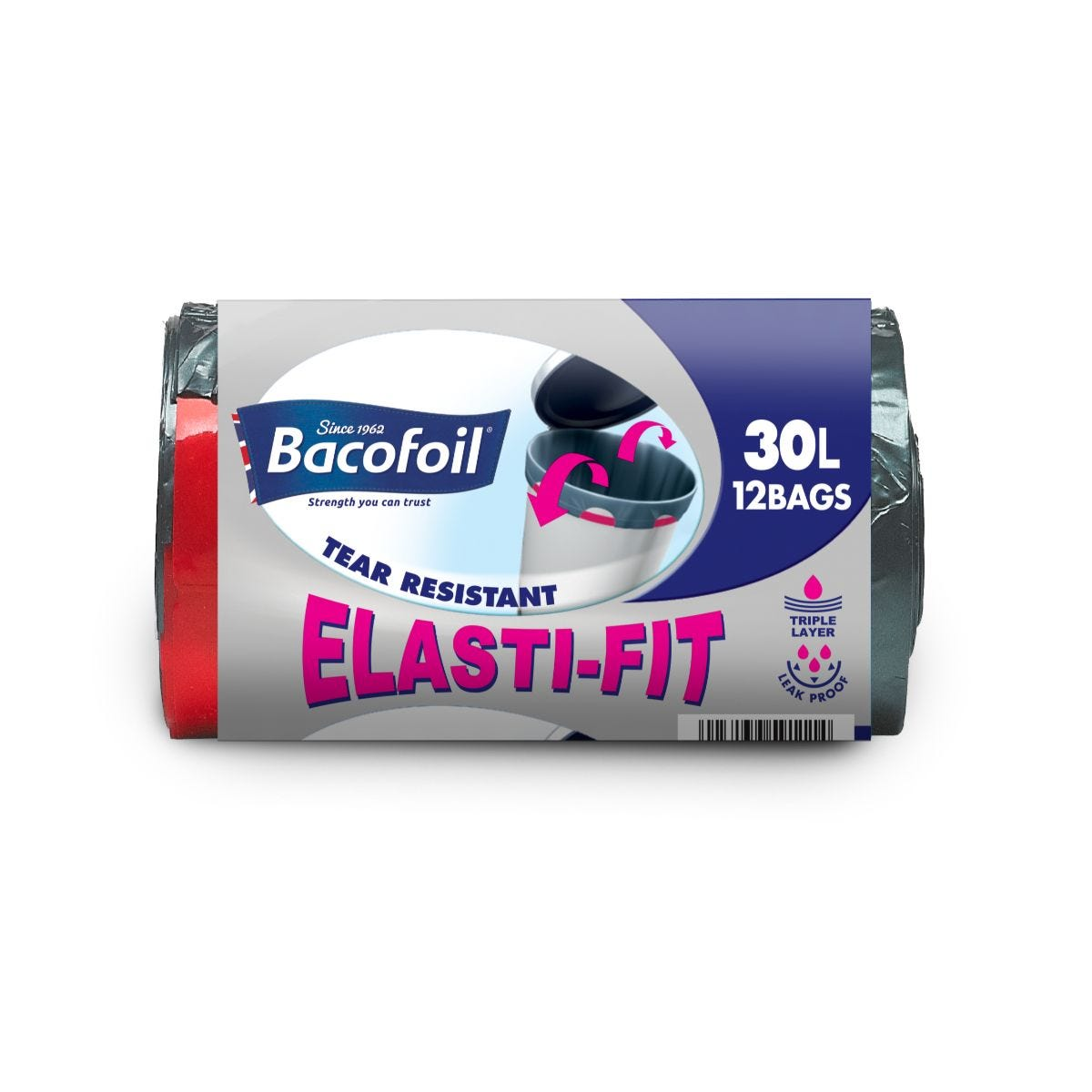 Bacofoil 30L Elasti-Fit Kitchen Bin Liners - Pack of 12