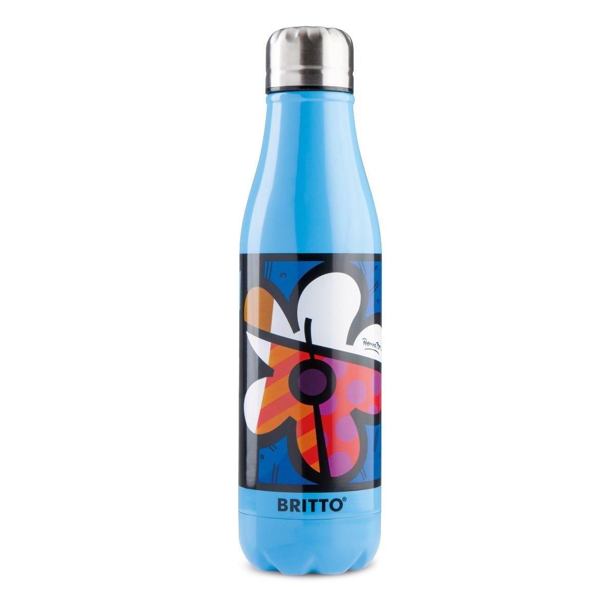 Britto Stainless Steel Floral Blue Insulated Flask Bottle - 500ml