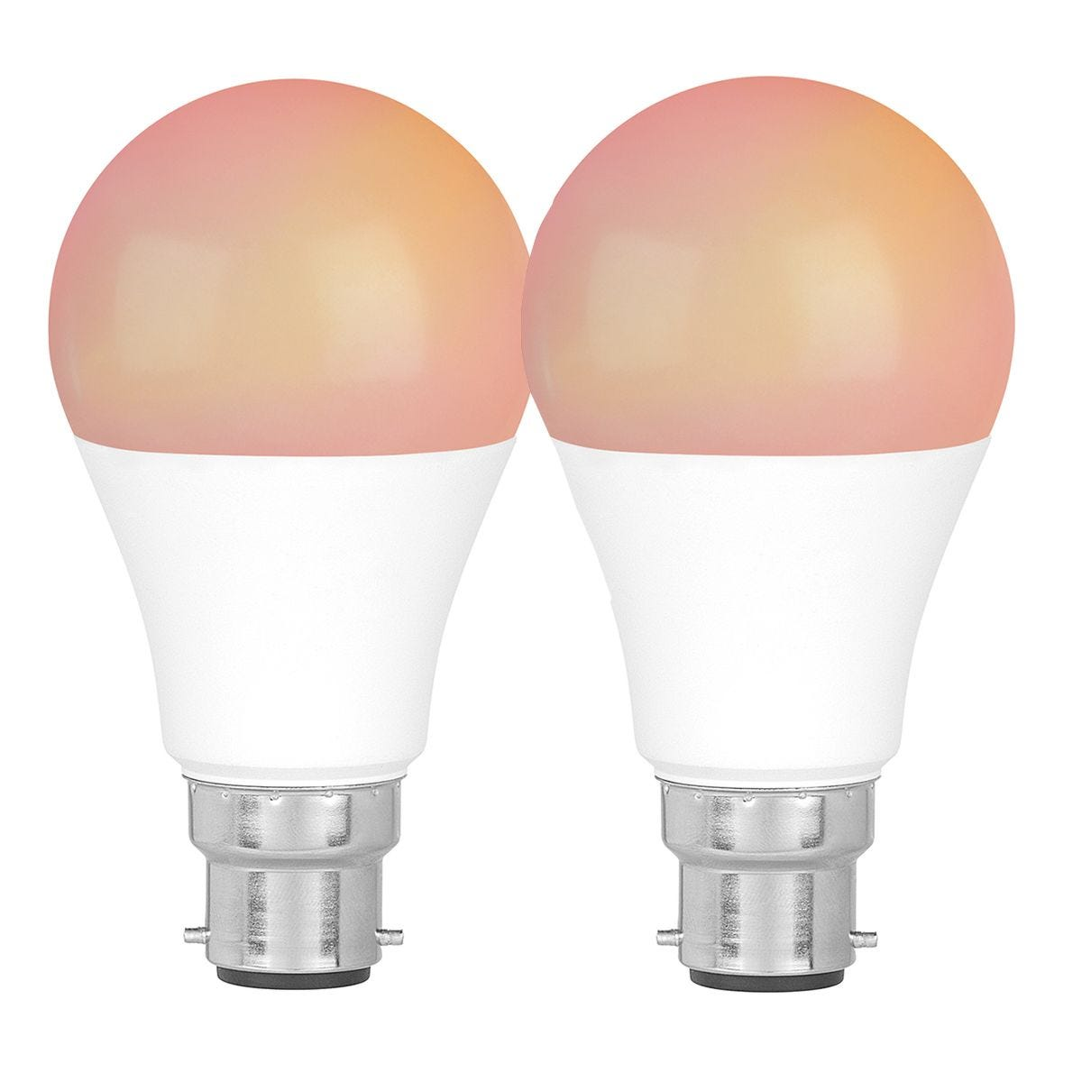 Intempo COMBO-6158 Smart Light Bulb with Bayonet Fitting 8.5 W Set of 2 - White and RGB Light Modes