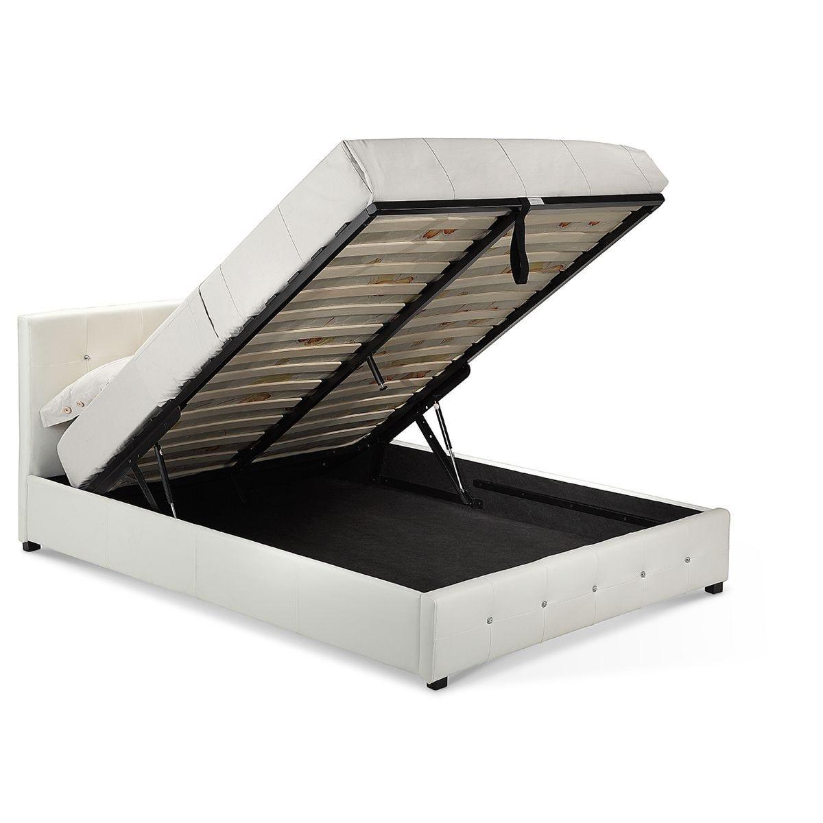 Quartz Storage PU Faux Leather Double Bed White