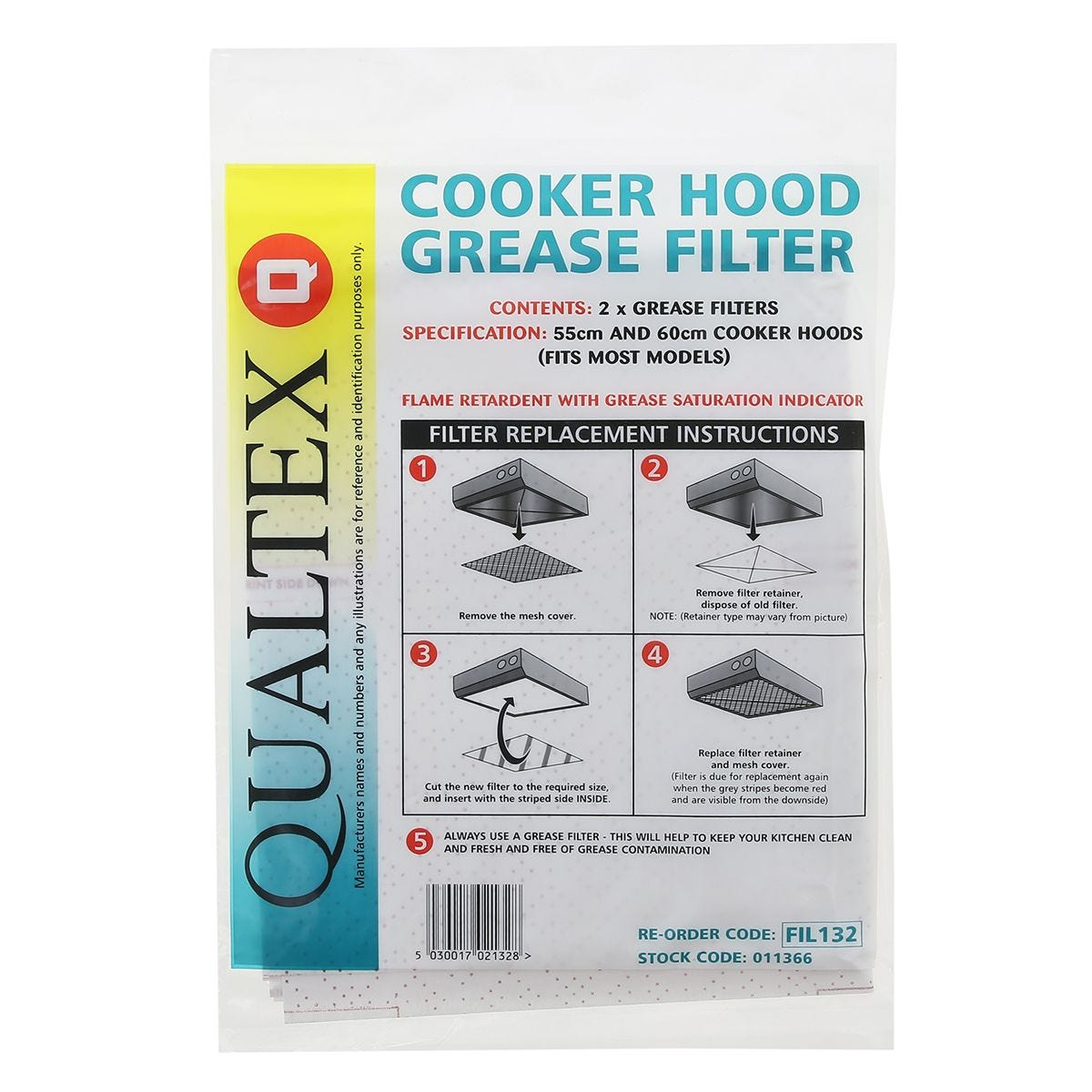 Qualtex Cooker Hood Red Line Grease Filters 50x 60cm - Pack of 2