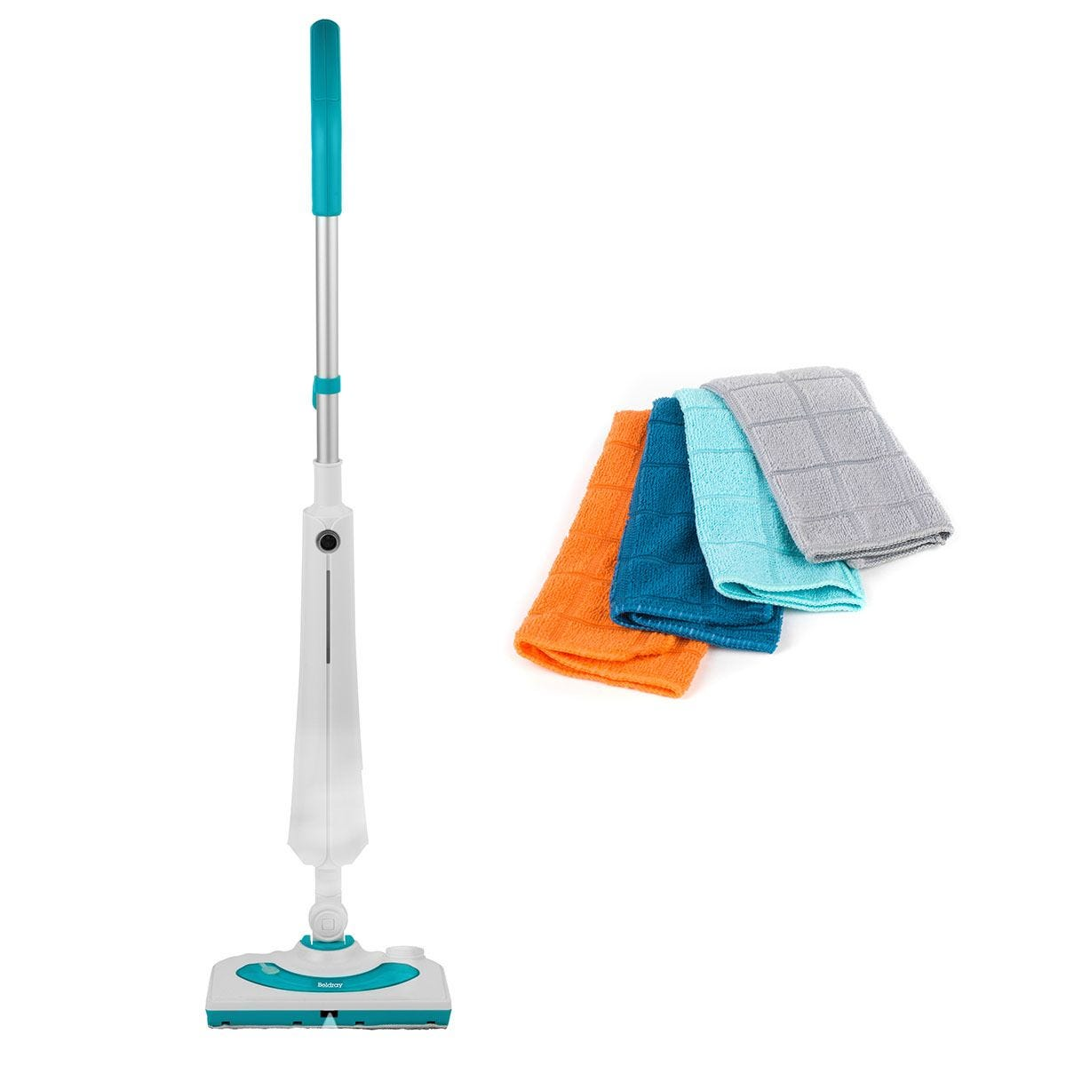 Beldray COMBO-7091 1300W Rectangular Detergent Steam Cleaner with 4 Microfibre Dusting Cloths - Multi
