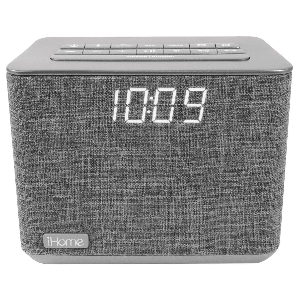 iHome Bluetooth FM Clock Radio with USB Charging - Grey