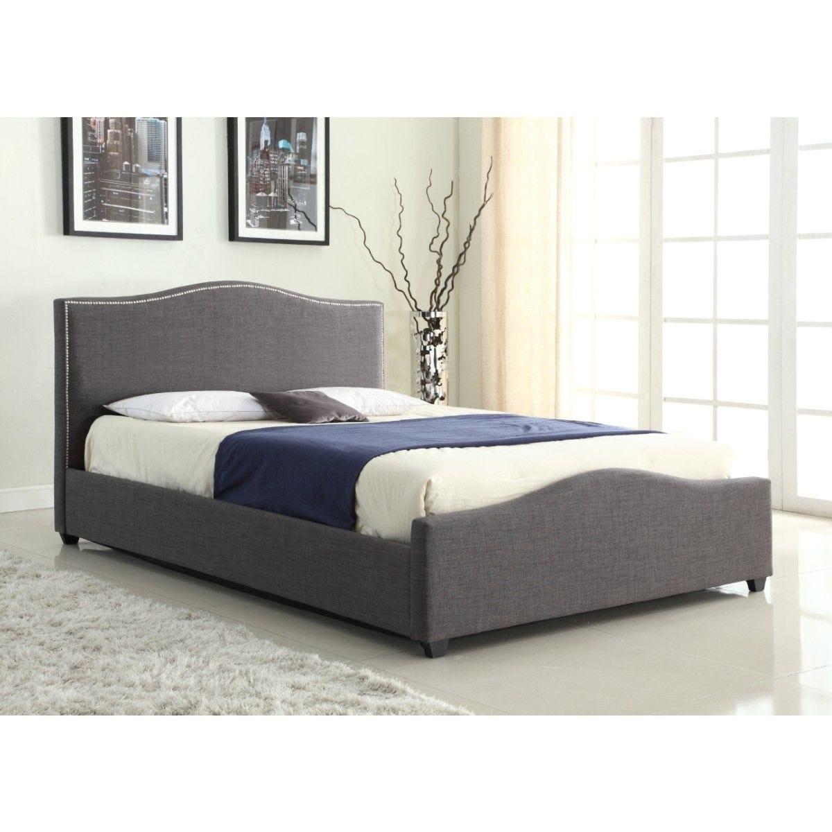 Elle Storage Linen King Size Bed Grey