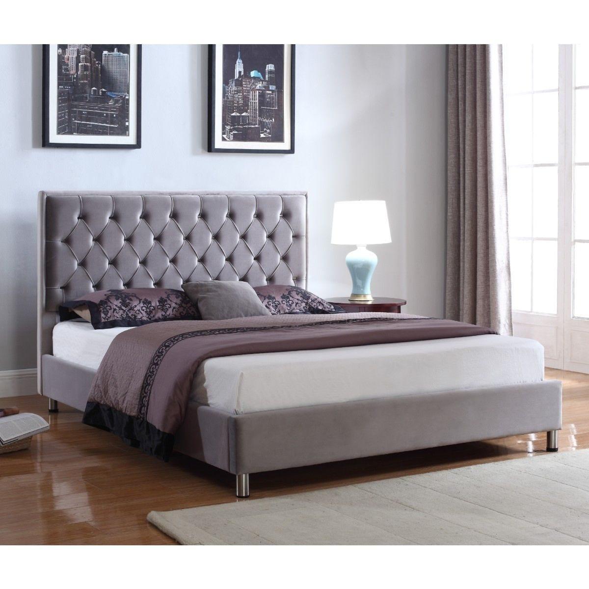 Izabel Velvet Double Bed Light Grey With Dark Grey Headboard Robert Dyas