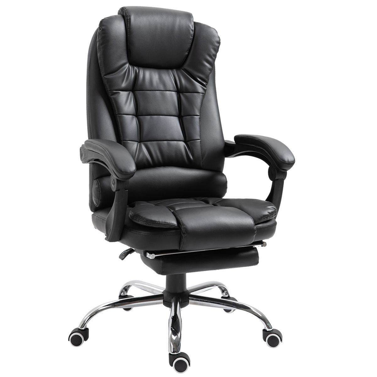 Zennor Nikko PU Leather Office Chair with Footrest - Black