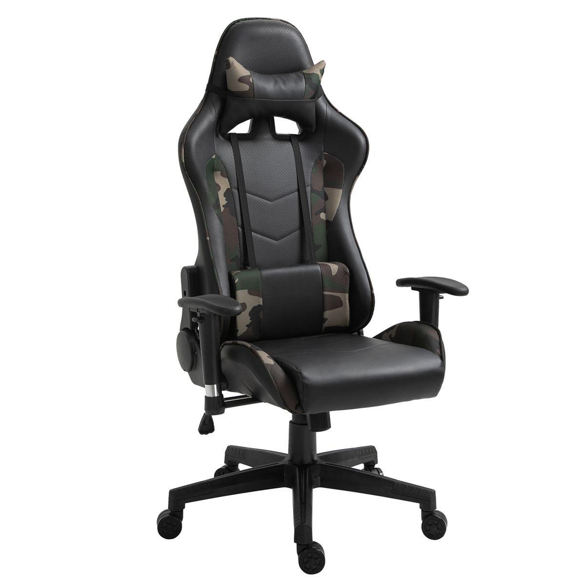 Equinox Camo PU Leather Gaming Chair with Vibrating Lumbar Cushion - Black/Green
