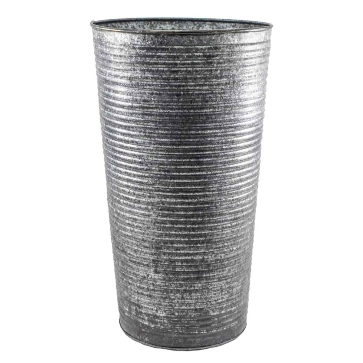 Ivyline Pack of 2 Ribbed 50cm Galvanised Vase Planters