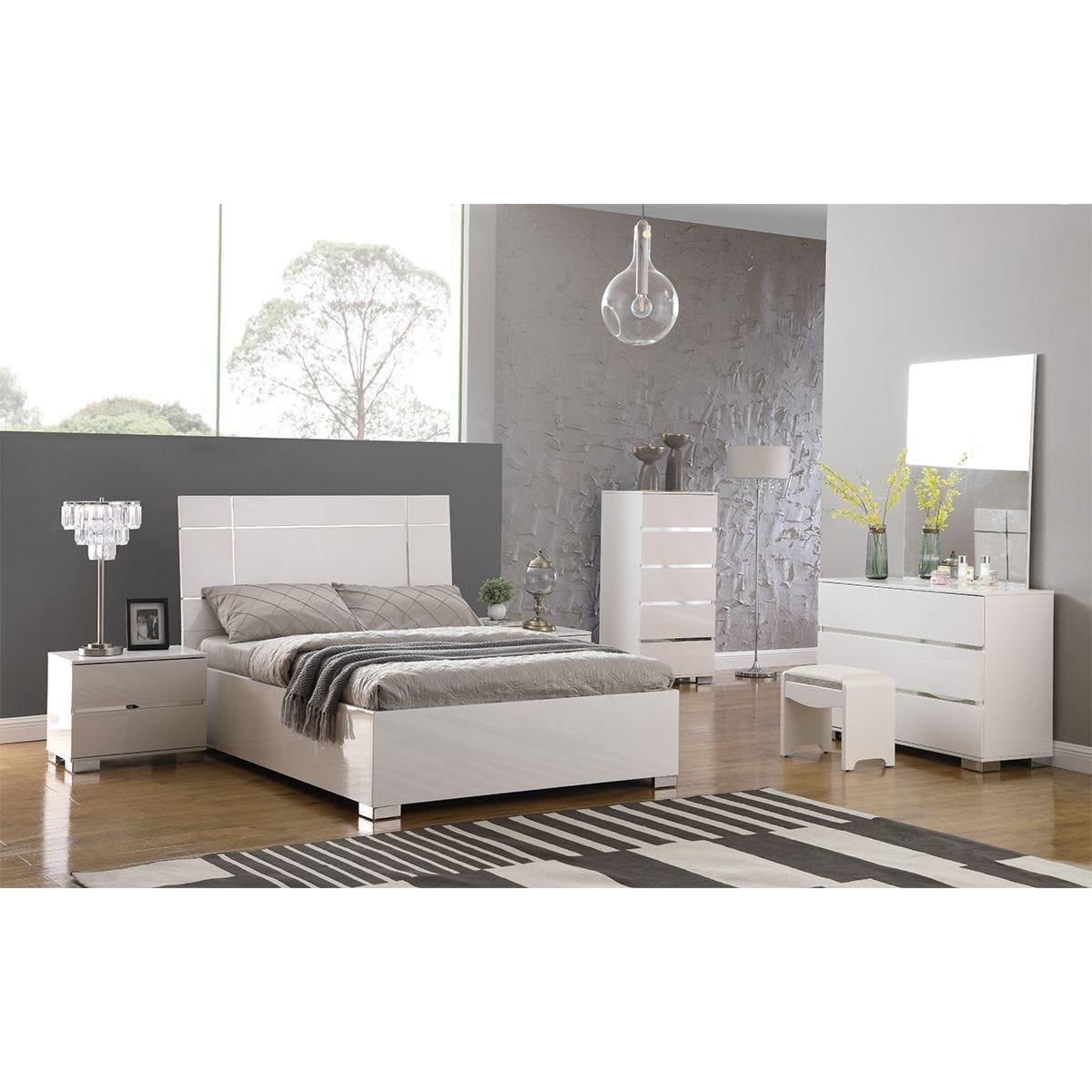 Helsinki High Gloss Double Bed - White