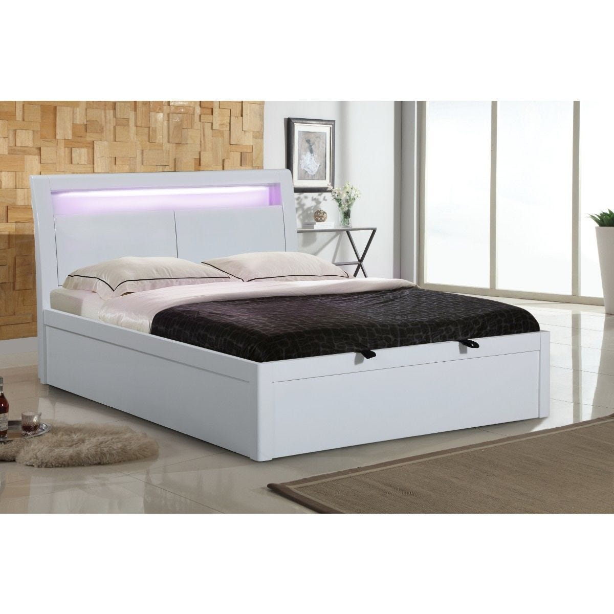 Tanya Storage High Gloss King Size Bed With LED Light White