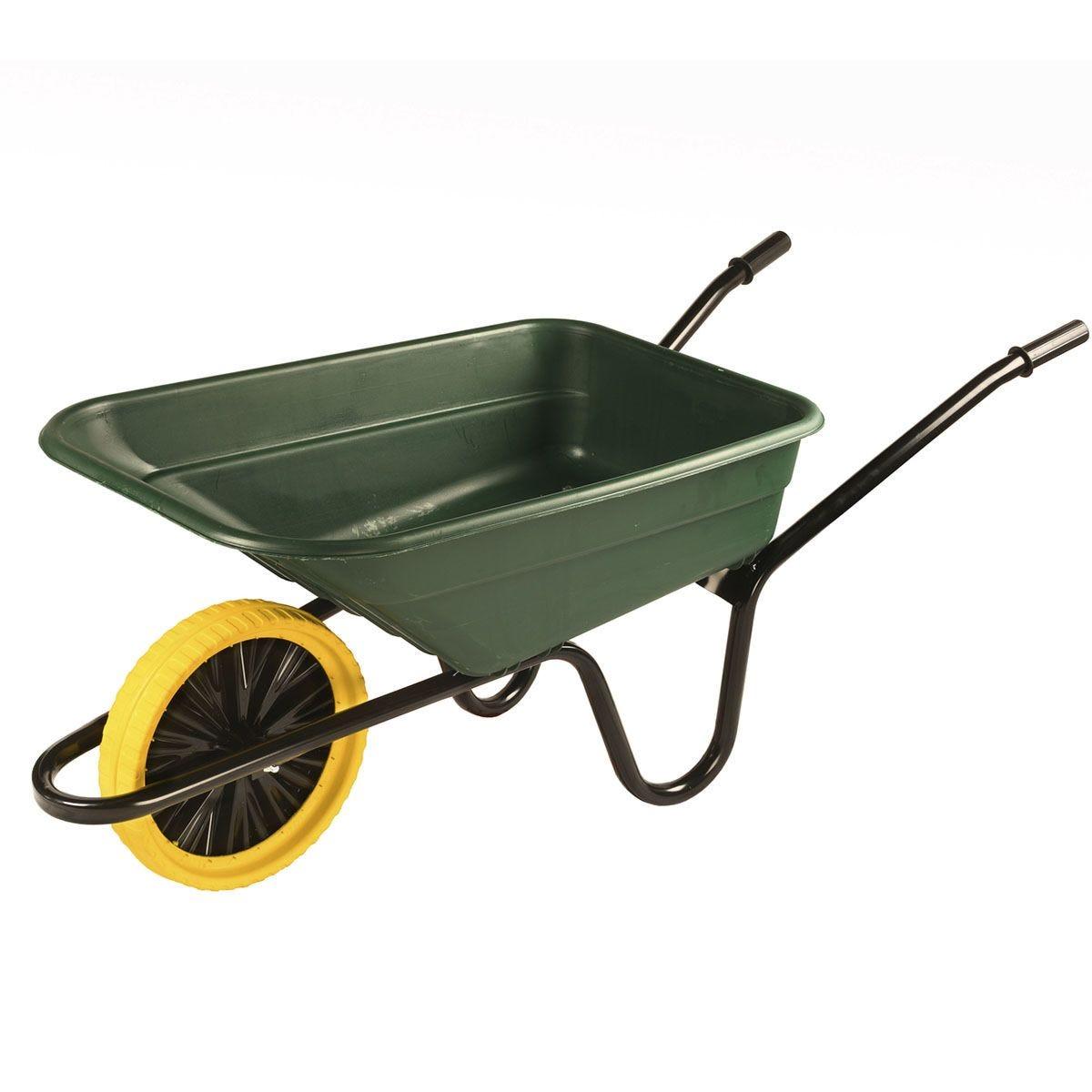 Walsall Wheelbarrow 90L Polypropylene Barrow In A Box with Punture Proof Wheel - Green