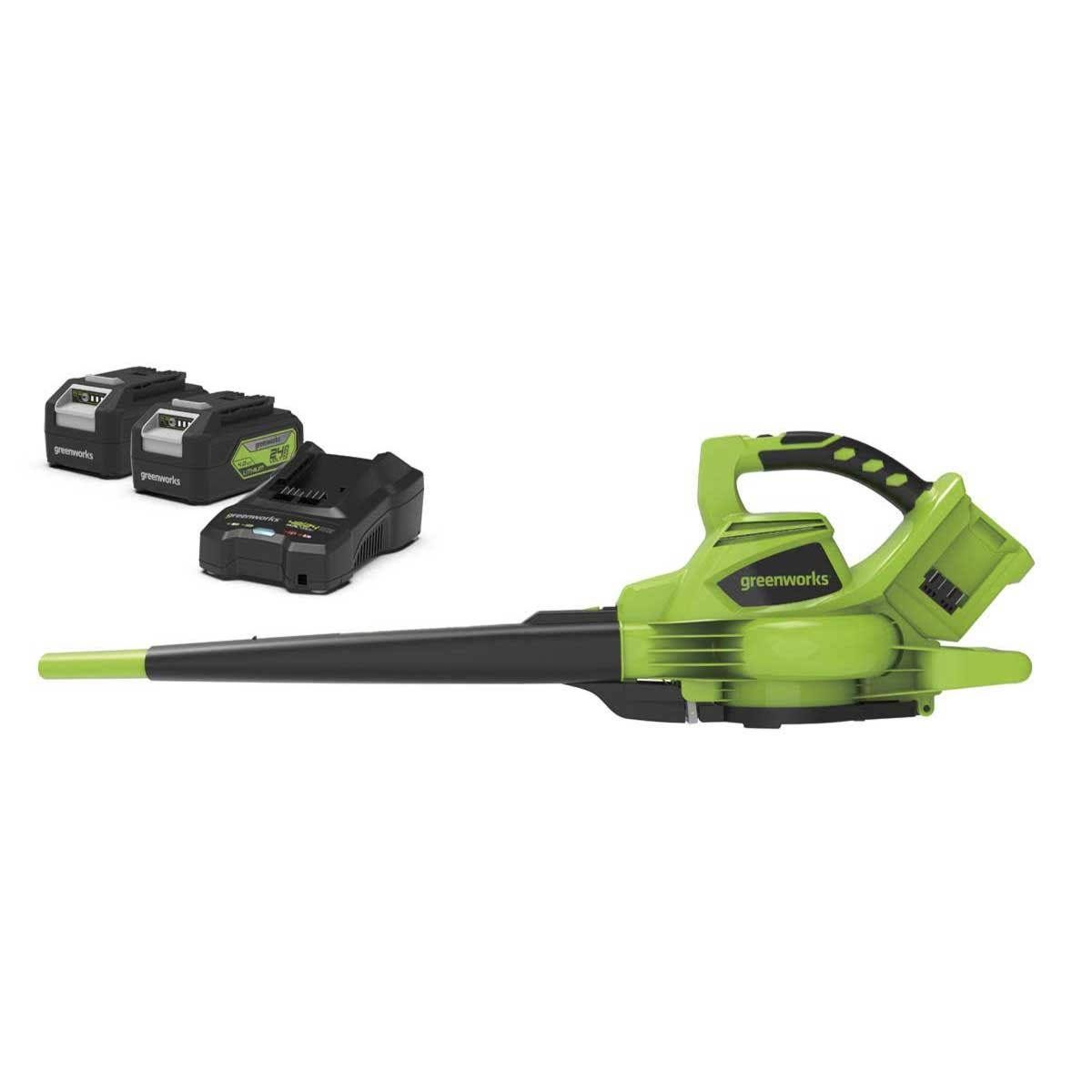 Greenworks 48v Cordless Blower and Vacuum with 2 x 24v 4Ah Batteries and Charger